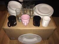 Kitchen set plates mugs glasses bowls