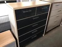 Light oak/glass chest of drawers
