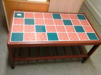 Retro 1970's Teal/terracotta tiled coffee table