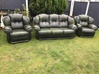 Green leather chesterfield sofa suite couch & armchairs vintage can deliver