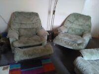 Pale Green 3 Piece Suite.
