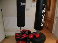 A Reebok Free Standing Tube Trainer - boxing + A Lonsdale tube trainer / gloves / pads etc