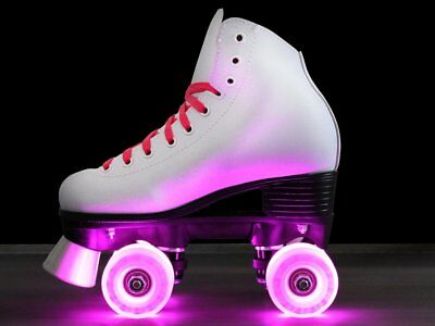 Epic Princess Twilight Pink LED Light Up Girls Indoor Outdoor Quad Roller Skates - Lighted Roller Skates