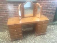Ducal solid pine dressing table and mirror. Dovetail Joints