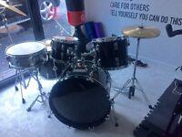 Full size drum kit, black. Good condition