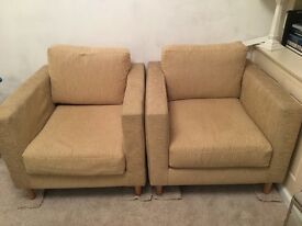 X 2 Gold Oatmeal Armchairs