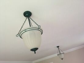 Suspended Frosted Glass Ceiling Light Shades (pair)