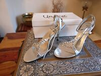 Zaif by Shalimar Blingy Ladies Heeled Shoes - Silver - Size UK 6