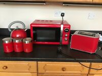 Microwave, kettle, toaster, tea coffee sugar containers