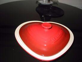 Le Creuset classic cast iron casserole. Heart shaped.