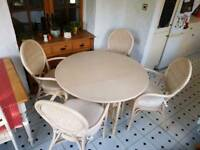 Limed oak drop leaf dining table and chairs