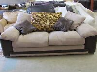 Brand New 3 Seater Cusion Back Fabric sofa - 2 Tone Leather Trimmings couch Settee