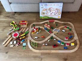 Bigjigs Town and Country wooden railway train set and extras