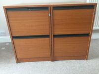 Wooden 2 x Draw Filing Cabinets
