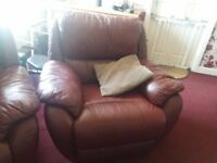 2 seater sofa and two chairs burgundy leather vgc