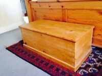 Antique Pine Blanket Box with Interior Candle Box