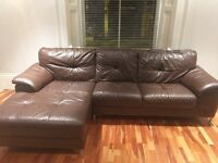 Brown leather corner sofa DFS - great condition