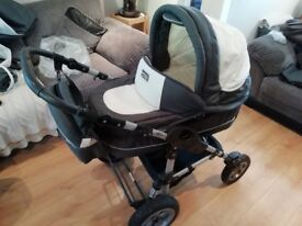 Pram, carseat, buggy attaches to frame individually comes with bag, raincover, bug net and psrasol