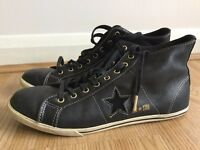 Converse One Star Chucks Black leather Hi-Top (Size UK 7.5)