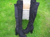 ladies over knee fake suede sretch back boots sz 5 uk