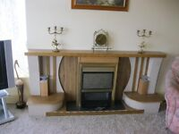 UNUSUAL FREE-STANDING FIRE-PLACE WITH MANTLE SHELF AND FIRE