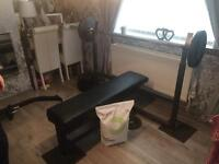 Heavy duty gym weight lifting bench, weights and Olympic bar