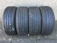 Tyres. 3 part worn, one new. 215/55 R17.