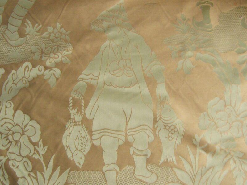 2.25Y Scalamandre Yang Tze Chinoisery Silk Toile Pea Celadon Green MSRP$582 1623