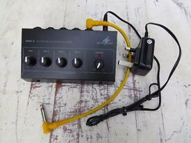 MONACOR MMX- 4 4 CHANNEL MICROPHONE MIXER with leads