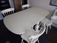 Drop leaf Table And 4 chairs in Cream Solid wood