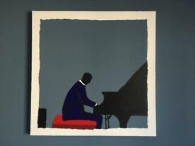 Painting, original one off acrylic on canvas, Piano Man