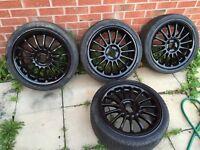 "17"" gloss black rims/alloy wheels 4x100 corsa civic astra toyota honda"