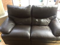 3 & 2 Seater Brown Leather Reclyning Sofas