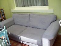 Sofa, 2 cushion, grey, scotchguarded, approximately 210cm long