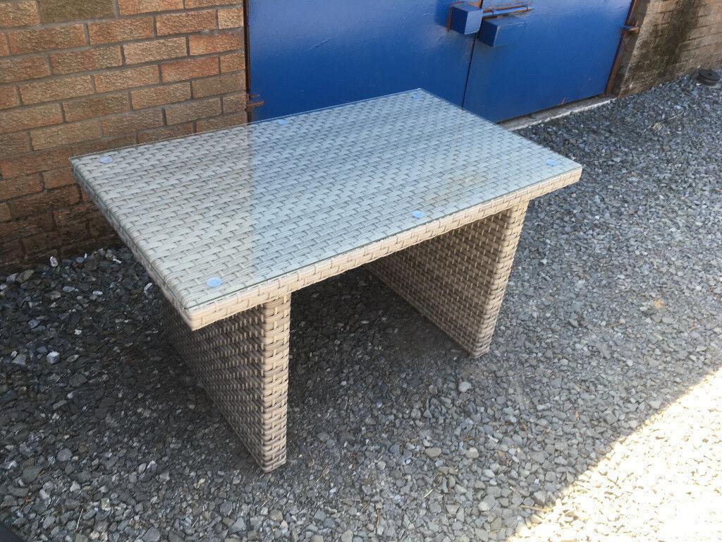 Rattan garden furniture glass top table dining set