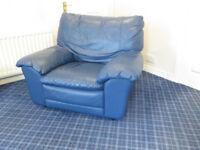 Blue Leather 3 piece Futureline Italian suite