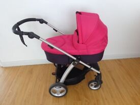 Good condition mamas and papas sola 2 Pink & Purple pushcha and carrycot