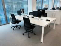 FREE SAME-DAY DELIVERY - 4 Seater White Office Bench Desks