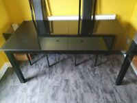 *BLACK GLASS DINING TABLE AND 4 CHAIRS SET*