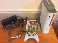 Xbox 360 console, games, head set. Lego movie