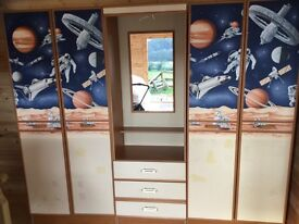 Kid's Matching wardrobes (2) & centre drawer unit.