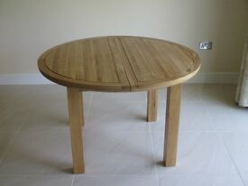 Round Extending Dining table 120cm - real oak
