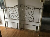 Stainless steel with brass effect super king head board
