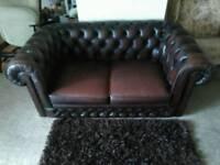 Thomas Lloyd Chesterfield 2 Seater Sofa, Vintage Brown Leather Sofa