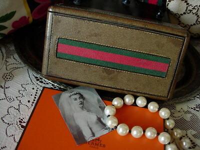 RARE Vintage GUCCI Webbing Jewelry Dresser Library Trinket Decor Accessory Box
