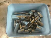Various sizes of sockets for socket set