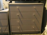 HABITAT 4 DRAW CHEST DRAWS GREY WITH MATCHING 3 DRAW BEDSIDE TABLE