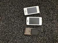 3 mobile phones - no backs
