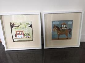 Framed owl prints
