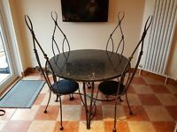 WROUGHT IRON & GRANITE DINING TABLE & 4 CHAIRS - CUSTOM MADE